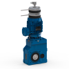 Helical bevel geared motor with double brake and encoder